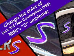 S Decal Replacements for 3rd Gen MINI Cooper Countryman (F60) S Scuttles, Front and Rear Emblems