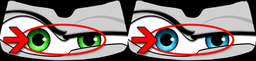 This is an image showing the area of the Eyeshade graphic changed using your choice of eye color.