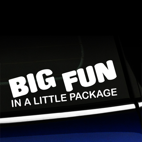 Big Fun in a Little Package - Vinyl Car Decal Product Page