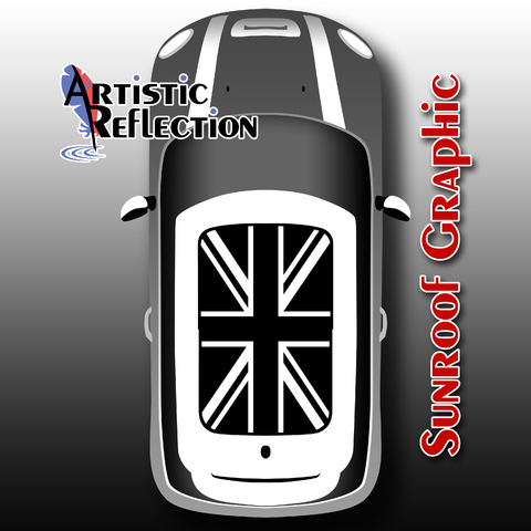 Black and White Jack Sunroof Graphic for MINI Cooper Product Page