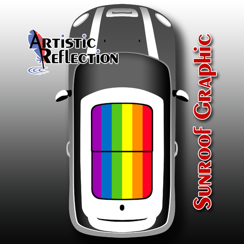 Rainbow Flag Sunroof Graphic for MINI Cooper Product Page
