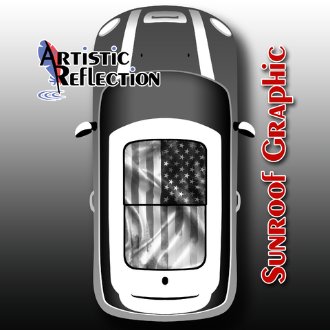 US Flag - Distressed Black and White - Sunroof Graphic for MINI Cooper Product Page