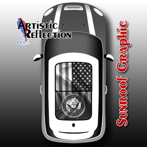 Navy & US Flag in Black and White - Sunroof Graphic for MINI Cooper Product Page