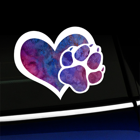 Watercolor Heart with Paw Print - Puppy Love Sticker - Full-color Vinyl Sticker Product Page