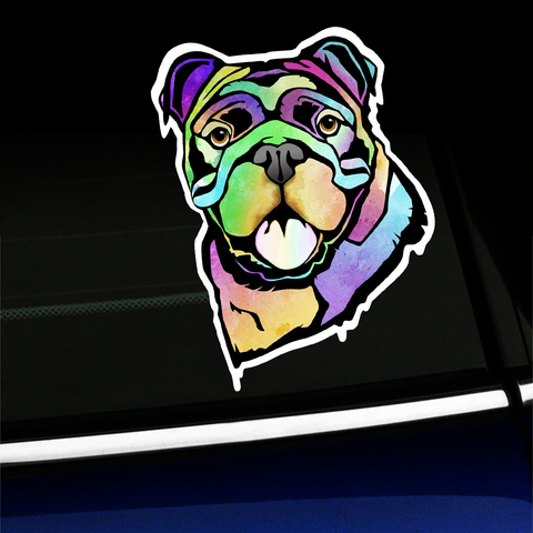 Watercolor Bulldog - Sticker Product Page